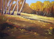 Golds Posters - Autumn Hillside Landscape Poster by Nancy Merkle