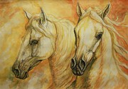 White Horse Paintings - Autumn Horses by Silvana Gabudean