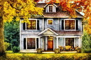 Suburbia Posters - Autumn - House - Cottage  Poster by Mike Savad