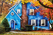 Blue House Posters - Autumn - House - Little Dream House  Poster by Mike Savad