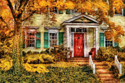 Red Door Prints - Autumn - House - Local Suburbia Print by Mike Savad