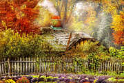 Country Houses Framed Prints - Autumn - House - On the way to grandmas House Framed Print by Mike Savad