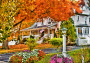 Orange Posters - Autumn - House - The Beauty of Autumn Poster by Mike Savad