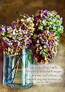 Dried Hydrangeas Prints - Autumn Hydrangeas photoart with verse Print by Debbie Portwood