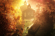 Thriller Digital Art Prints - Autumn in Cemetery  Print by Tamas Erdosi