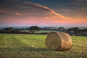 Haybale Photo Prints - Autumn in Cornwall Print by Christine Smart