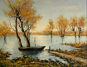 Romania Paintings - Autumn in Delta by Petrica Sincu