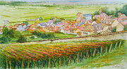 Champagne Paintings - Autumn in Epernay in the Champagne region of France by Dai Wynn