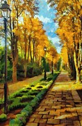 Street Lamps Digital Art Prints - Autumn in Public Gardens Print by Jeff Kolker