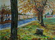 Veronica Rickard Prints - Autumn in South Road Print by Veronica Rickard