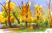 Water Colors Painting Originals - Autumn in the Forest by Kip DeVore