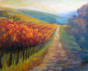 Autumn Vineyards Paintings - Autumn in the Vineyard by Carolyn Jarvis