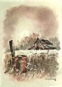 Old Farm Drawings - Autumn in View at Mac Gregors Barn by Carol Wisniewski