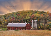 Barn Digital Art Posters - Autumn in Wellsboro Poster by Lori Deiter