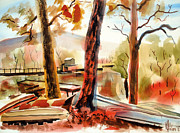 Autumn Landscape Mixed Media Posters - Autumn Jon Boats II Poster by Kip DeVore