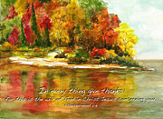 Thessalonians Prints - Autumn Lake 1 Thessalonians 5  Print by Janis Lee Colon