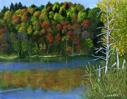 Catherine White Painting Metal Prints - Autumn Lake at Mono Cliffs  Metal Print by Catherine Howard
