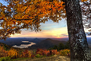 Smokey Mountains Posters - Autumn Lake Poster by Debra and Dave Vanderlaan