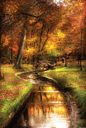Walking Prints - Autumn - Landscape - By a little bridge  Print by Mike Savad