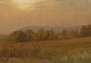 American Landscape Paintings - Autumn landscape New England by Albert Bierstadt