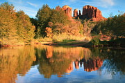 Red Rock Crossing Framed Prints - Autumn Landscape Reflections Sedona Framed Print by Roupen  Baker