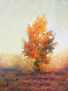 Frond Painting Prints - Autumn landscape with lonely tree  Print by Odon Czintos