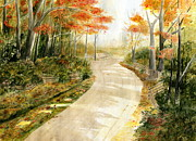 Melly Terpening Paintings - Autumn Lane by Melly Terpening