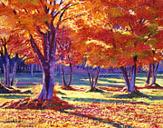 Birch Trees Paintings - Autumn Leaves by  David Lloyd Glover