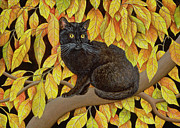 Black Cat Posters - Autumn Leaves Poster by Ditz