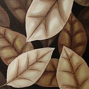 Fallen Leaf Painting Posters - Autumn Leaves in Sepia Poster by Anna Bronwyn Foley