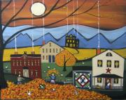 Outsider Art Paintings - Autumn Leaves by Kori Vincent