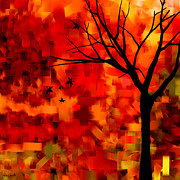 Tree At Sunset Posters - Autumn Leaves Poster by Lourry Legarde