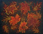 Foliage Paintings - Autumn Leaves original acrylic painting by Georgeta  Blanaru