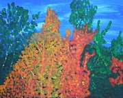 Original  By Artist Paintings - Autumn Leaves by Ron Davidson