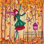 Fairy Tale Mixed Media Prints - Autumn Letter Print by Caroline Bonne-Muller