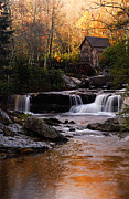 Grist Mill Art - Autumn Light by Larry Ricker