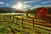 Rail Fence Framed Prints - Autumn Meadow Sunrise I - West Virginia Framed Print by Dan Carmichael