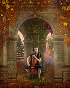 Scenery Mixed Media Metal Prints - Autumn Melody Metal Print by Bedros Awak