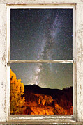 Picture Window Frame Photos Art - Autumn Milky Way Night Sky Rustic Window View by James Bo Insogna