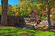 Grist Mill Prints - Autumn Mill impasto Print by Steve Harrington
