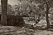 Grist Mill Posters - Autumn Mill sepia Poster by Steve Harrington