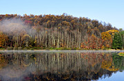 Reflecting Art - Autumn Mist above Lake by Thomas R Fletcher