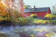 Red Barn. New England Framed Prints - Autumn Morn Framed Print by Bill  Wakeley