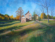 Outbuildings Painting Framed Prints - Autumn Morning Framed Print by Diane Hutchinson