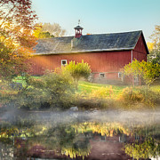 Red Barn. New England Prints - Autumn Morning Square Print by Bill  Wakeley