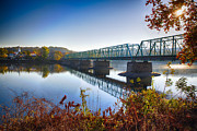 Hunterdon County Framed Prints - Autumn Morning View of the New Hope Lambertville Bridge  Framed Print by George Oze