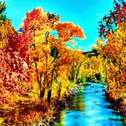Oak Creek Digital Art Framed Prints - Autumn Oak Creek Sedona Arizona Framed Print by Nadine and Bob Johnston