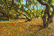 Pointillism Originals - Autumn Oak Forest by Angela A Stanton
