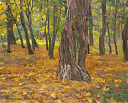 Autumn Landscape Painting Originals - Autumn of an old tree by Victoria Kharchenko