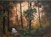 Waterfalls Paintings - Autumn On Cannock Chase by Jean Walker